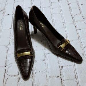 Ralph Lauren Paulette Brown Leather Heels Shoes